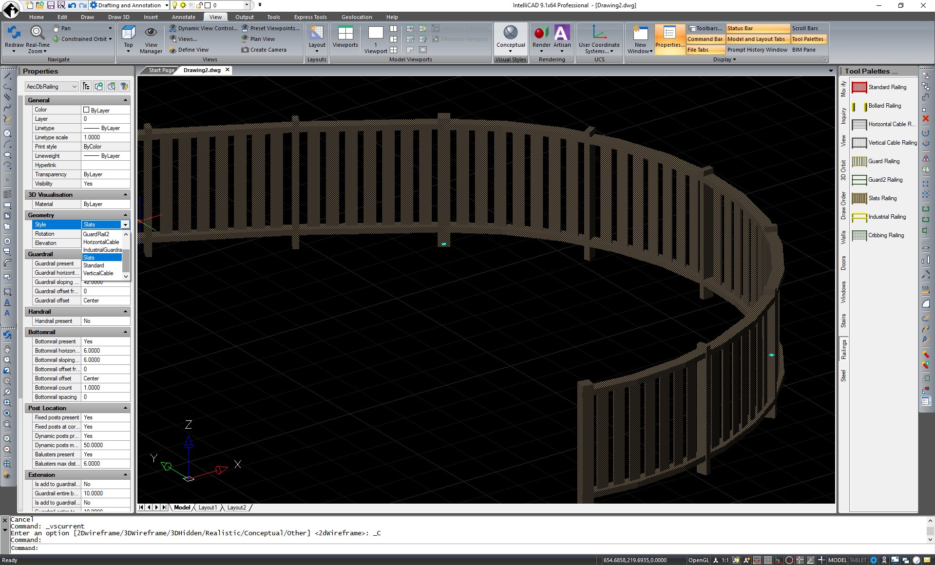 IntelliCAD 9.1 BIM Railing